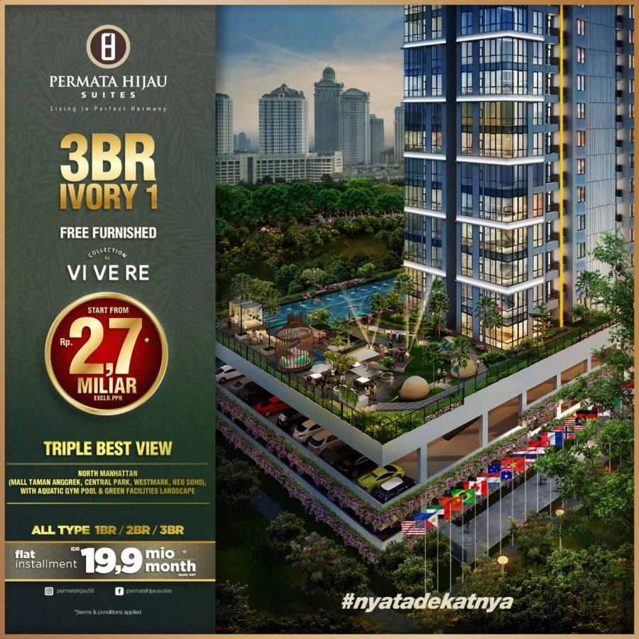 3BR Ivory 1, Free Furnished by Vivere, start from Rp2,7 Miliar excld.PPN*